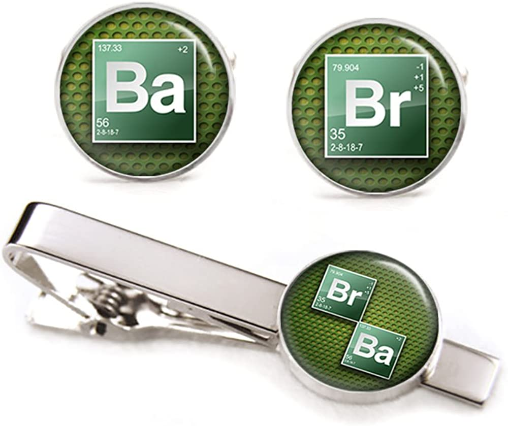 SharedImagination Breaking Bad Cufflinks, Heisenberg Tie Clip, Walter White Jewelry, Geek Geeky Wedding Party Gift, Groomsmen Gifts