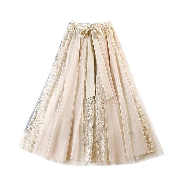 TieNew Falda Tul Mujer Faldas Midi Plisada con Cintura Elástica ...