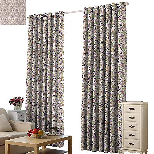 Homrkey Warm Curtain Abstract Bouquet of Lilacs and Violets Flourishing Spring Nature Flowers Thermal Insulated Tie Up Curtain W108 xL72 Pale Green Lavender Cream