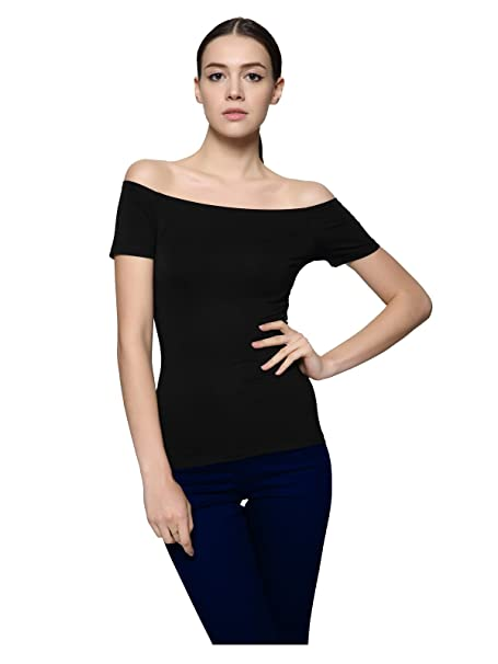 6891279a6e120a Maggie Tang Trendy Fitted Off Shoulder Modal Blouse Top Size S Color BK  Black