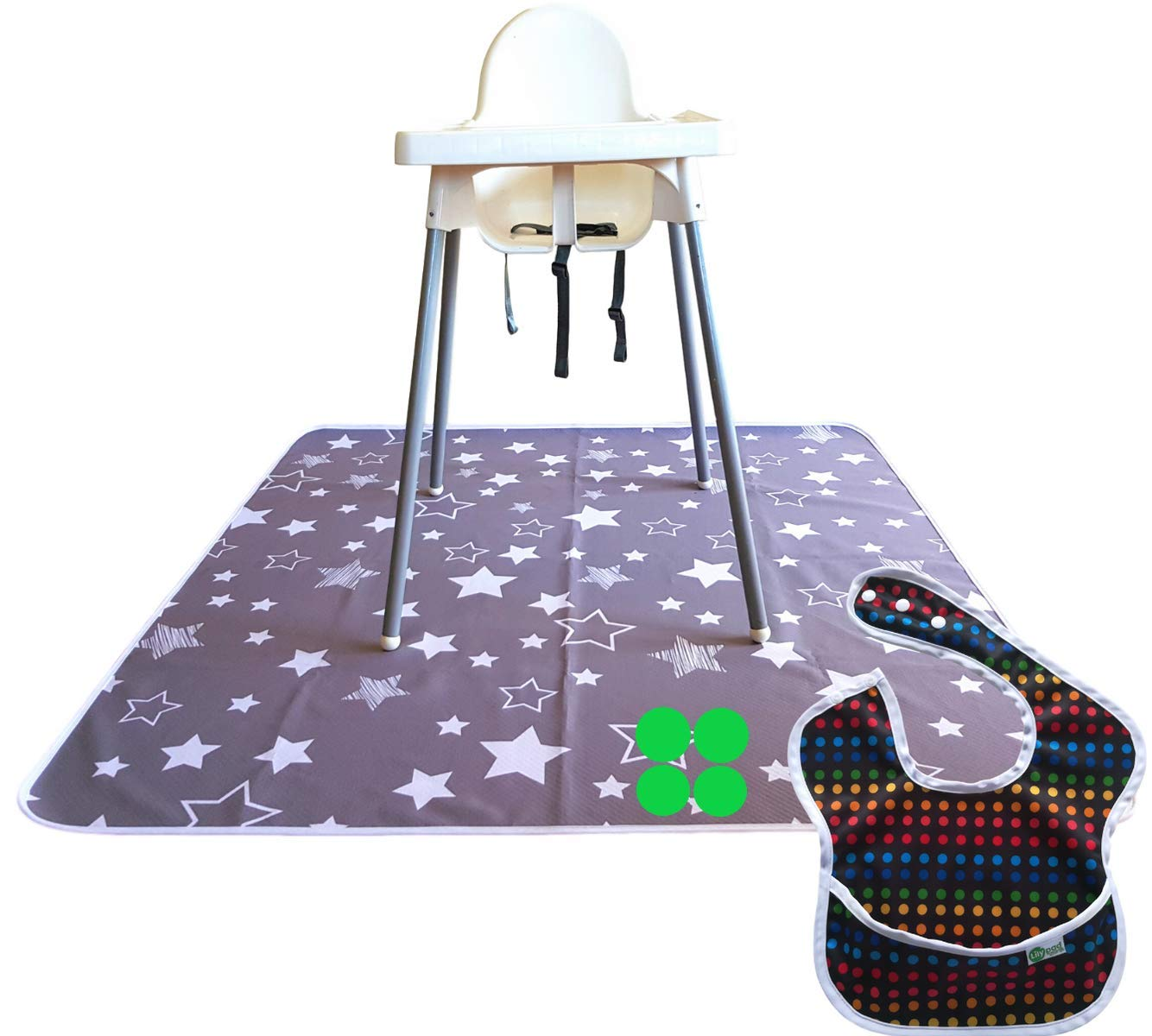 Machine Washable Non-Slip LILY PAD /& LITTLE MR Splat Mat for Under High Chair Non Bunching Floor Mess Protector 51 Baby Floor Mat and Baby Bib Grey Stars 100/% Waterproof