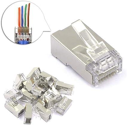 50x RJ45 Network Modular Plug 8P8C CAT5e Cable Connector End Pass Through