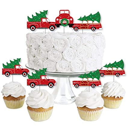 Merry Little Christmas Tree Dessert Cupcake Toppers Red Truck And Car Christmas Party Clear Treat Picks Set Of 24