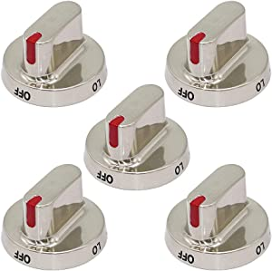 DG64-00472A DG64-00473A Universal Range Surface Burner Control Knob with Stainless Steel Color (5 Pack) Replacement for Samsung Oven DG64-00347A,PS10058981