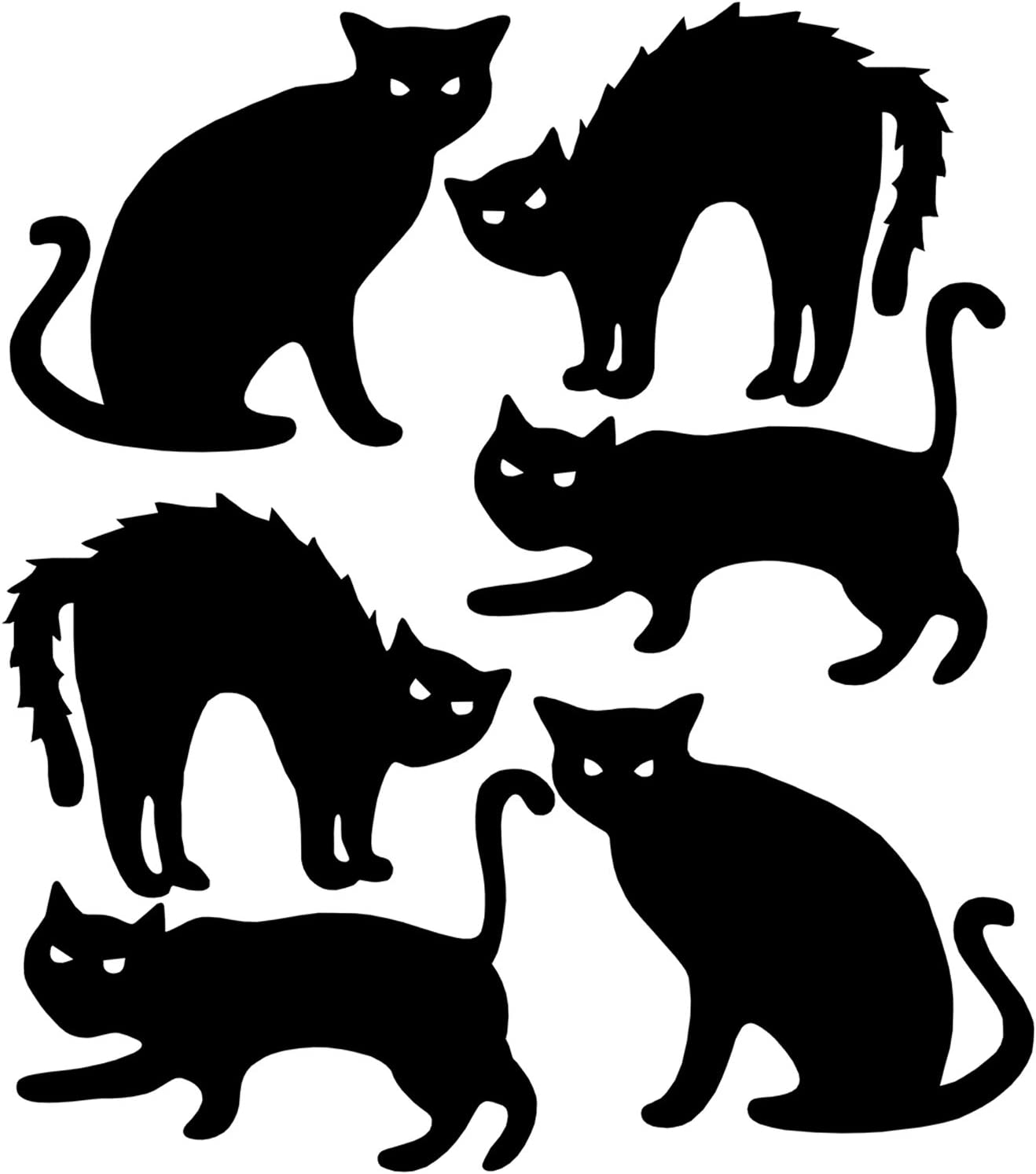 Deloky Halloween Yard Signs with Stakes- Black Cat Silhouette Yard Signs with Stakes-Halloween Yard Lawn Party Signs Decorations (6PCS Cat)