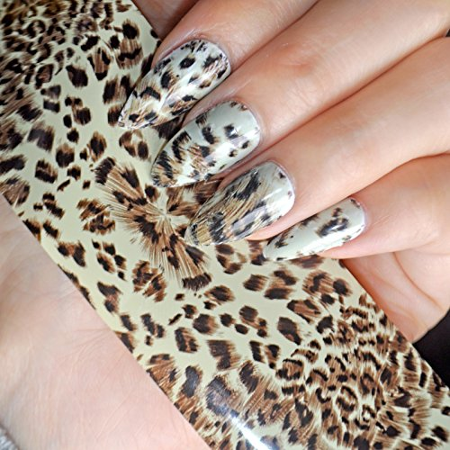 1 Piece 1meter Leopard Design Nail Art Glue Transfer Foil Sticker