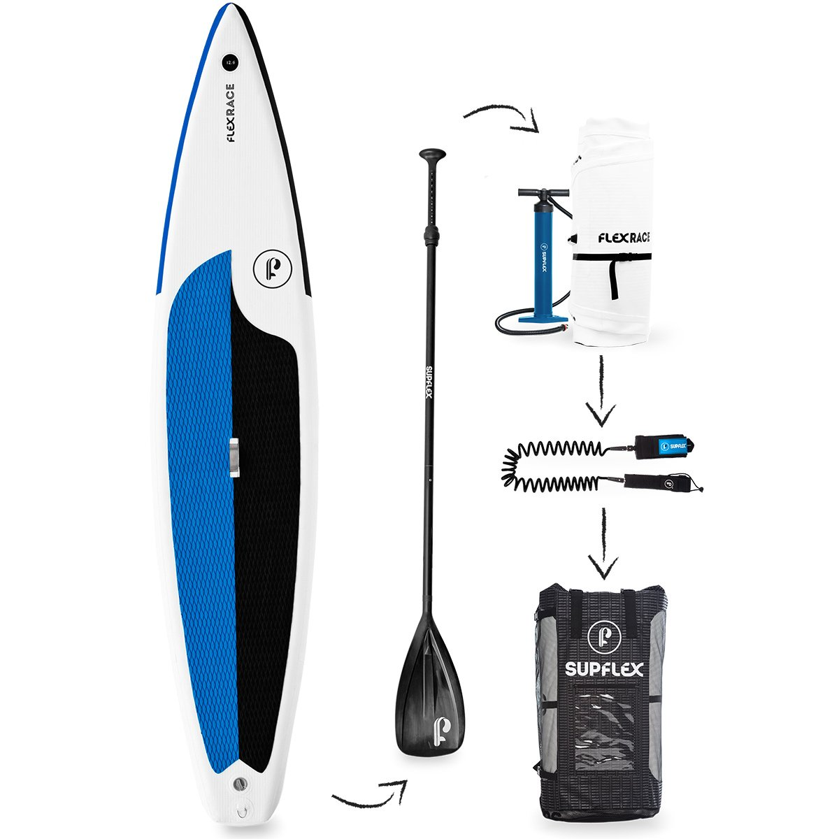 Supflex iSUP 12'6'' FLEXRACE (6'' Thick) Inflatable Stand Up Paddle Board Package - Board, Pump, Bag, Paddle & Free Leash