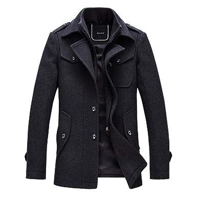 vente chaude en ligne 04655 f1fd4 YOUTHUP Manteau Homme Laine Hiver Chaud Trench-Coat Caban élégant Blouson  Parka Veste Slim Fit Casual Coat