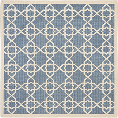 8sq Light Blue Color - Safavieh Courtyard Collection CY6032-243 Blue and Beige Indoor/ Outdoor Square Area Rug (7'10