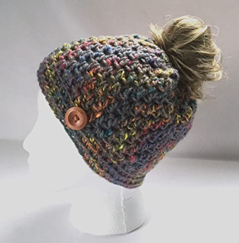 Amazon Handmade Messy Bun Hat Tweed Grey Beanie Wood Button