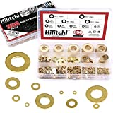 Hilitchi 350-Pcs [10 - SIZE] Brass Flat Washer Assortment Set - M2 M2.5 M3 M4 M5 M6 M8 M10 M12 M14
