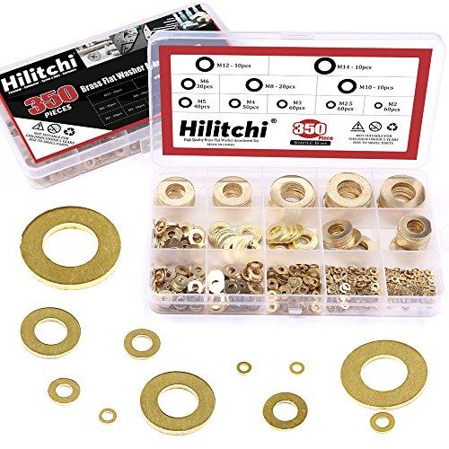 Hilitchi 350-Pcs [10 - Size] Brass Flat Washer Assortment Set - M2 M2.5 M3 M4 M5 M6 M8 M10 M12 M14