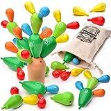 aGreatLife Juguete De Cactus De Equilibrio De Madera- Apilador De Madera Color Arco Iris Montessori – Bloques De Cactus – Aprenda Conceptos Matemáticos Básicos, Conciencia Espacial