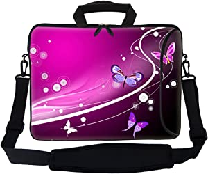 """Meffort Inc 15 15.6 inch Neoprene Laptop Bag Sleeve with Extra Side Pocket, Soft Carrying Handle & Removable Shoulder Strap for 14"""" to 15.6"""" Size Notebook Computer - Pink Butterfly Design"""