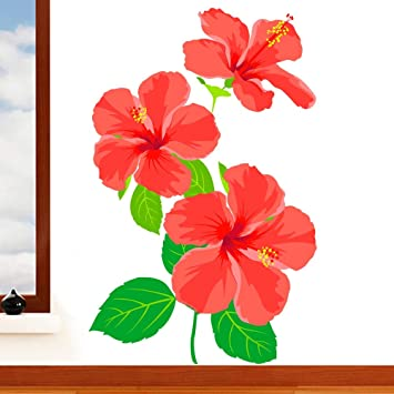 Rubybloom Designs Tropical Hibiscus Flower Mural Wall Sticker Floral Art Vinyl Decal Transfer