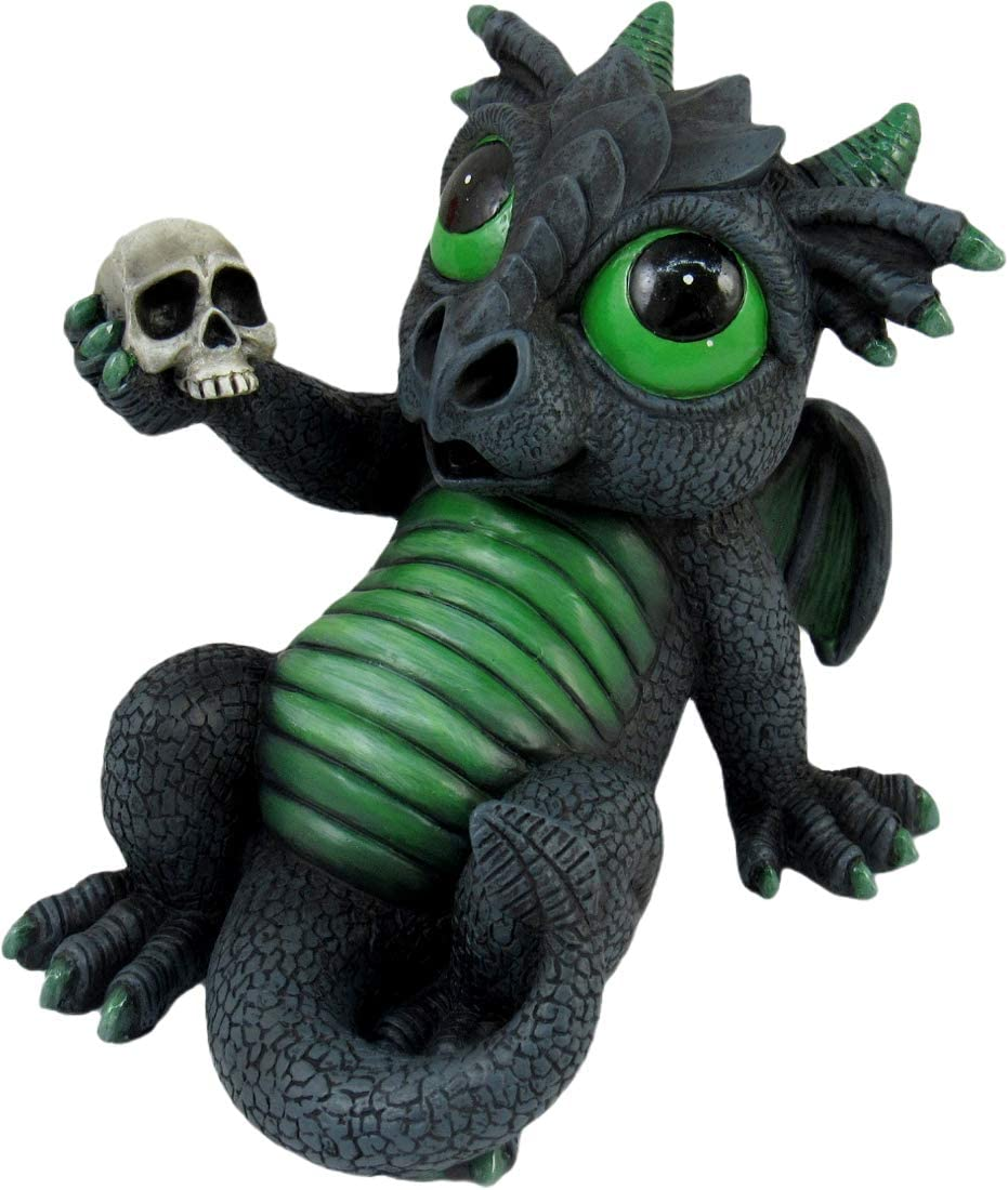 World of Wonders Grave Yard Series Dreamland Dragons | Collectible Dragon Figurine with Birth Certificate | Fantasy Home Decor Accent | 6inch Dragon Statue - Obsidian