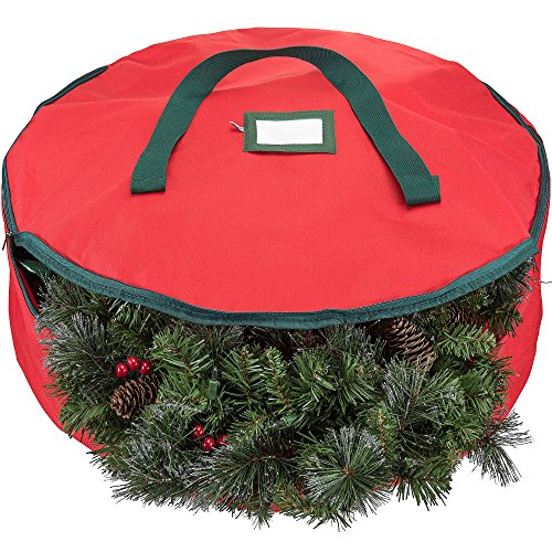 Zober Premium 600D Polyester Wreath Storage Bag - Tear Resistant Fabric Storage Bag for Wreath Storage with Sleek Zipper Featuring Transparent Card Slot for Labeling | 30 x 30 x 8 | - Christmas Wreath Holder