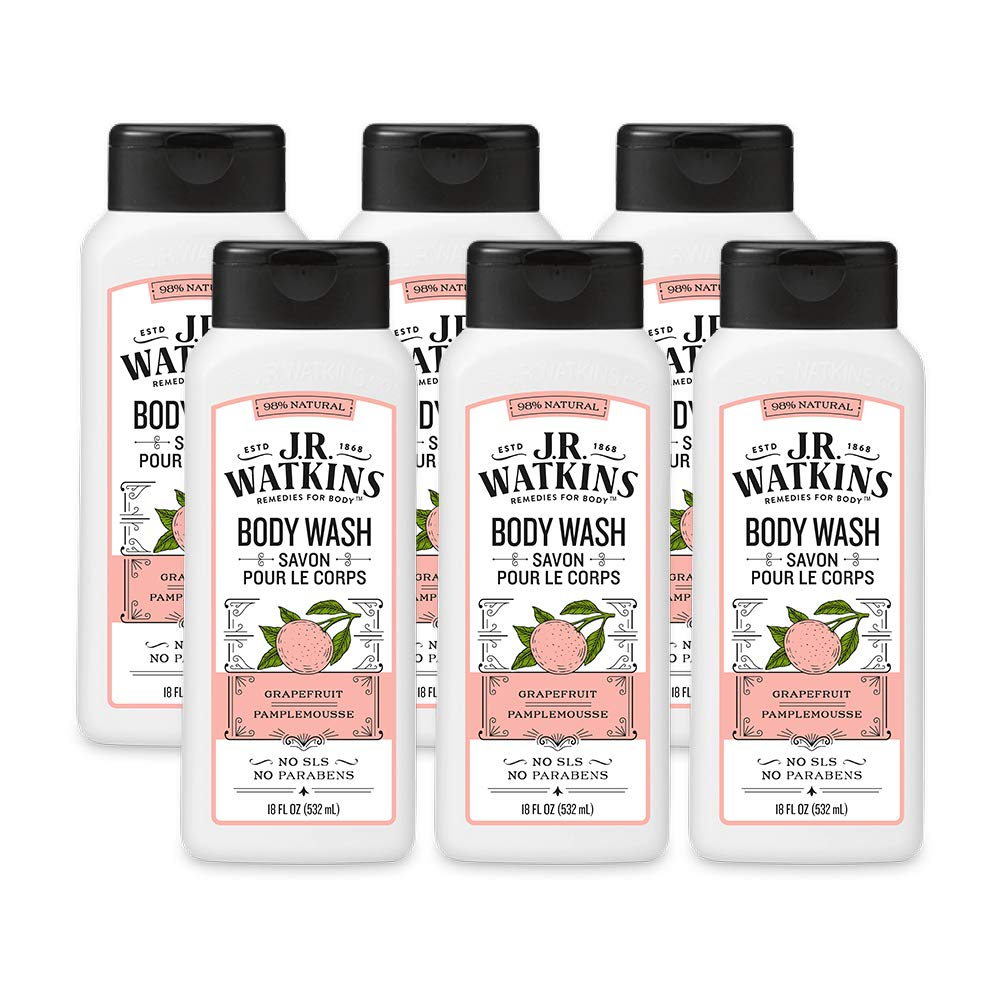 JR Watkins Natural Daily Moisturizing Body Wash, Grapefruit, 6 Pack, Hydrating Shower Gel for Men and Women, Free of SLS, USA Made and Cruelty Free, 18 fl oz