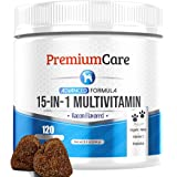 15 in 1 Dog Multivitamin - Made in USA - Essential Dog Vitamins with Hemp, Probiotics, Omega 3 for Dogs - Brain, Heart…