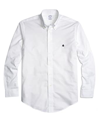 b0dd9dd1b0d774 Brooks Brothers Men's Regent Slim Fit Non Iron Oxford Button Down Shirt  White (X-Large) at Amazon Men's Clothing store: