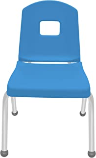 """product image for 14"""" Creative Colors Split Bucket Chair in Bright Blue with Platinum Silver Frame and Ball Glide"""