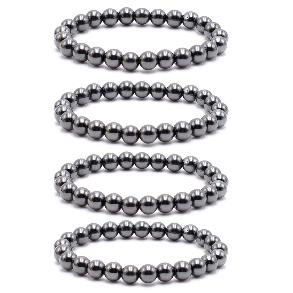Byson 4 Pcs/Set Black Hematite 8mm Ball Bead Magnetic Therapy Bracelet Magnet Stone Bracelet Relieve Arthritis Headache Stress Relieving Magnet Bracelet Jewelry Anxiety Relief for Carpel Tunne by Byson
