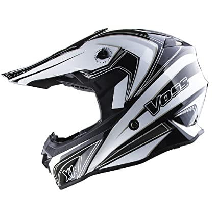 Voss X1 Pro Magneto Graphic Motocross Helmet with Quick Release - M - White Magneto