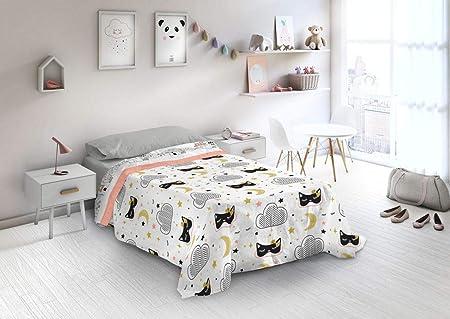 Euromoda Juego DE SABANAS Infantiles 100% ALGODÓN ESTAMPACIÓN Digital para Cama DE 90 Naturals (Lady Cat): Amazon.es: Hogar