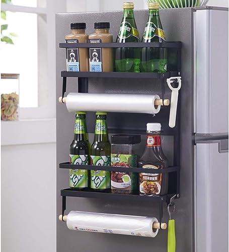 Magnetic Spice Rack, Fridge Magnet Organizer, Double Tier Magnetic Shelf Organizer Paper Towel Holder with 5 Hooks, Multi Use Double-L-Black