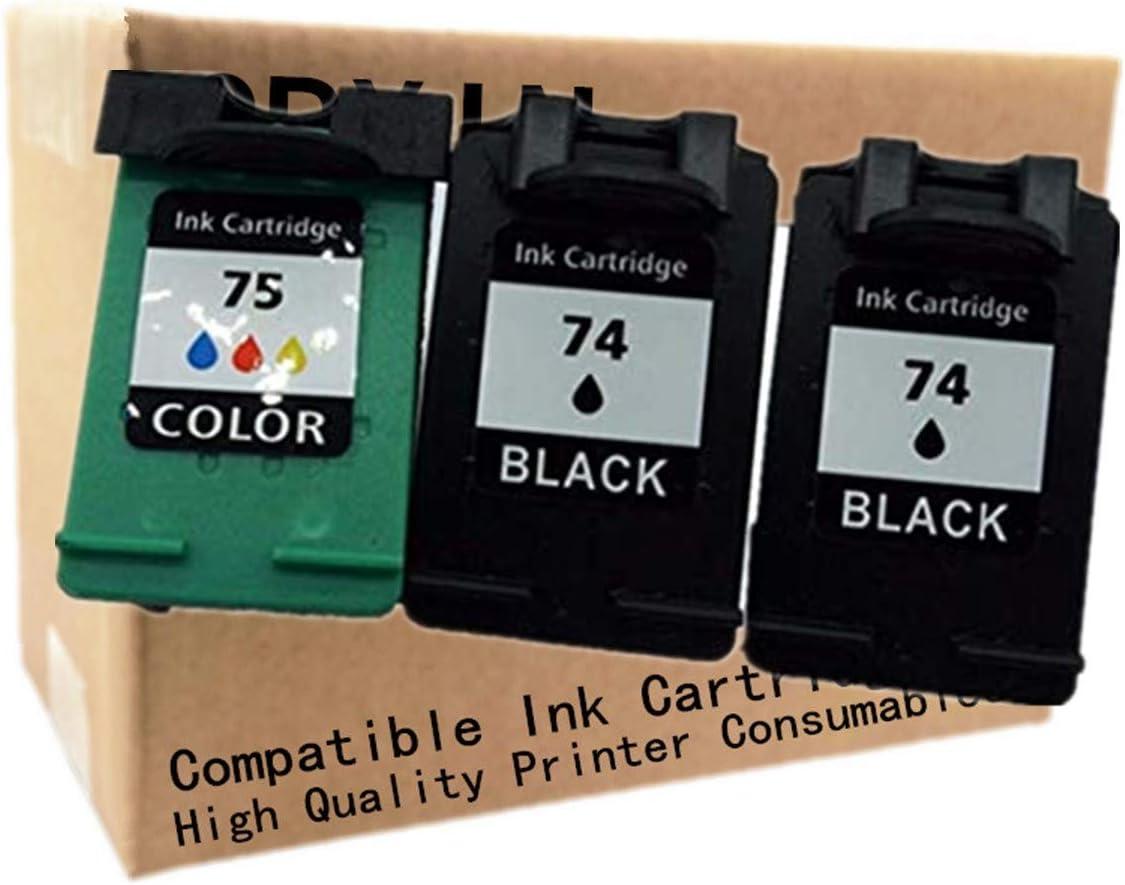 No-name Remanufactured Ink Cartridges Replacement for HP 74 74XL HP74 75 75XL CB335W CB335W Deskjet D4260 D4263 D4280 D4360 D4363 D5360 Inkjet Printer (2 Black + 1 Tri-Color)