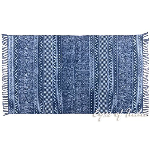 Eyes of India - 3 X 5 ft Blue Cotton Block Print Accent Area Dhurrie Rug Flat Weave Hand Woven Boho Chic Indian Bohemian