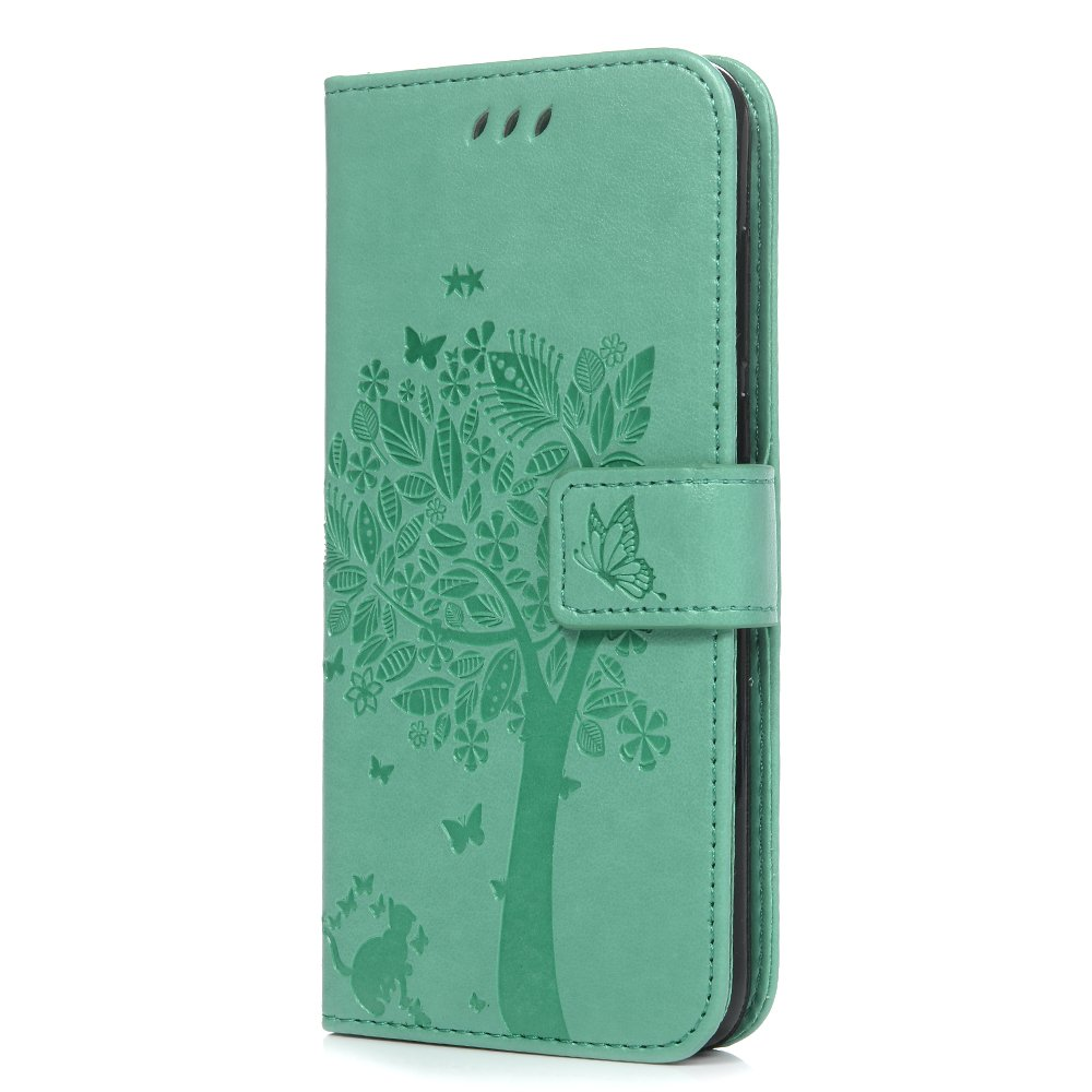 Tophung Huawei P Smart Case, Premium PU Leather Flip Notebook Wallet Case Embossed Cat Butterfly with Magnetic Stand Card Holder Slot Folio Protective Skin Cover for Huawei P Smart/Enjoy 7S - Gray