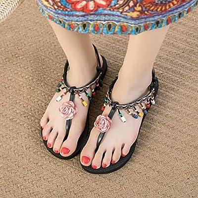 Women/'s Summer Boho Flower Sandals Ladies Summer Holiday Beach Flip Flop Flat