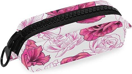 Estuche para lápices, diseño de rosas, color rosa: Amazon.es ...