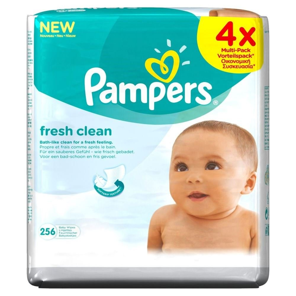 Pampers Fresh Clean Baby Wipes (64 per pack x 4) Groceries