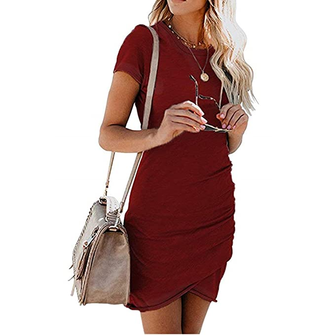 6fe1dde0928 BABAKUD Women s Summer Bodycon Mini Dress Casual Elegant Short Sleeve Party Wrap  Dress Tulip Hem Midi