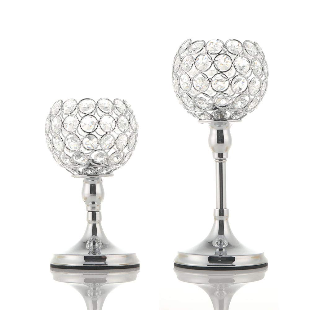 VINCIGANT Silver Crystal Pillar Candle Stand Holders Set of 2 for Votive Tealight Candles/Modern Home Decor Gift for Anniversary Celebration/Table Centerpieces,8 and 10 Inches Tall