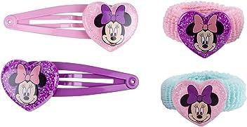 SIX Kids Disney Minnie Mouse Haarschmuck Set, Haarspangen und Zopfgummi, rosa/lila/türkis (304-470)