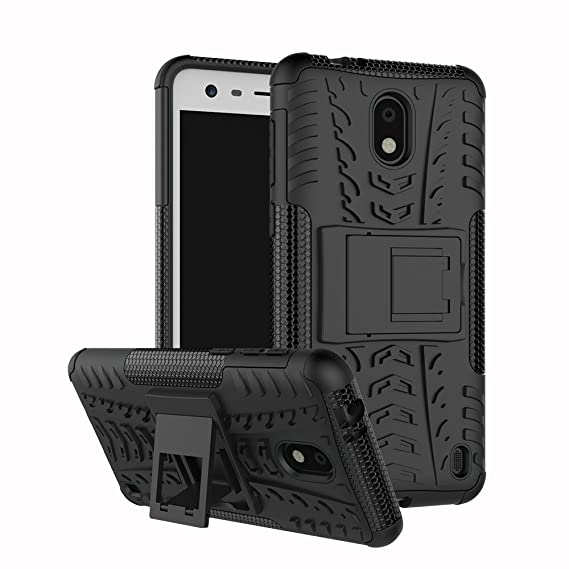 best service 96586 d9657 Linkertech Nokia 2 Case (Not for Nokia 2V [Shockproof] Tough Rugged Dual  Layer Protector Hybrid Case Cover with Kickstand for Nokia 2 (Black)