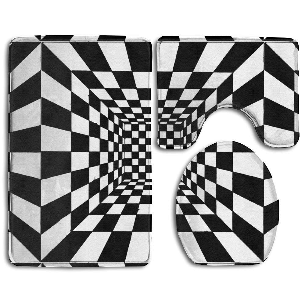 NEW MOMO 3 Pice Printing Toilet Seat Cover Anti-Skid Soft Warmer Decorate Bathroom Trippy Checkerboard Prints