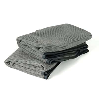 Liquid X Gray Matter Extra Large Waffle Weave Microfiber Drying Towel with Silk Edges - 25in x 36in (2 Pack): Automotive