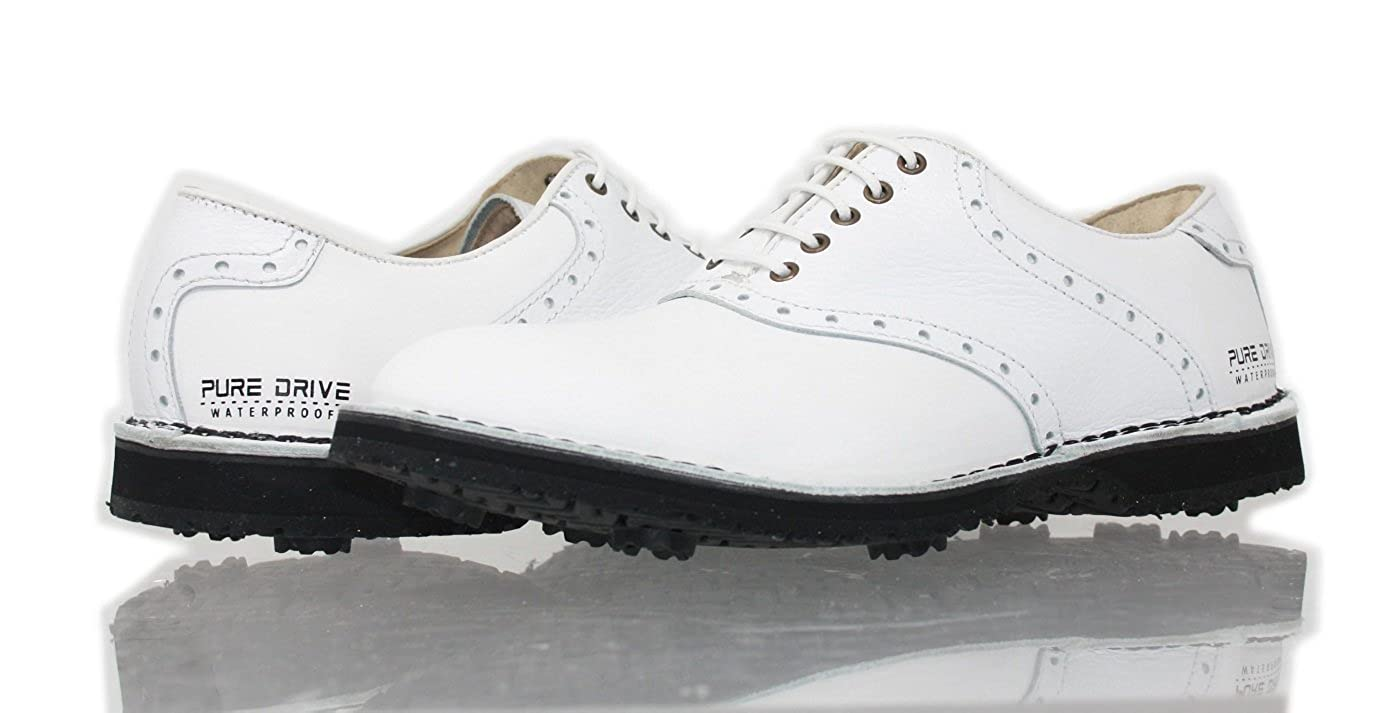 PORTMANN 2018 Saddle Classic Tour Men's Golf Shoes | Premium Leather | Double Welted Shoe | Stitched to Midsole | Extralight and Flexibility | Pure Drive Tec. B0792KY5NR 42 M EU|White Calf \ Tabacco