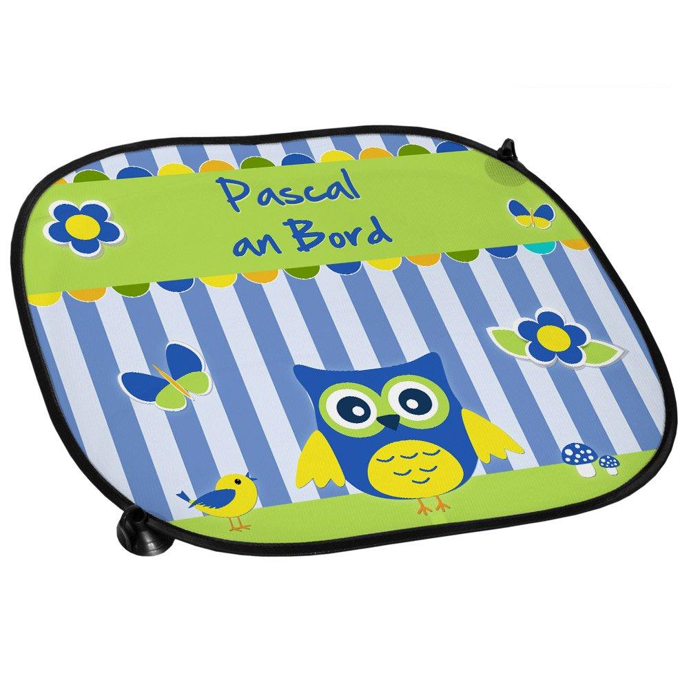 Auto-Sonnenschutz mit Namen Pascal und schö nem Eulen-Motiv fü r Jungs - Auto-Blendschutz - Sonnenblende - Sichtschutz Eurofoto