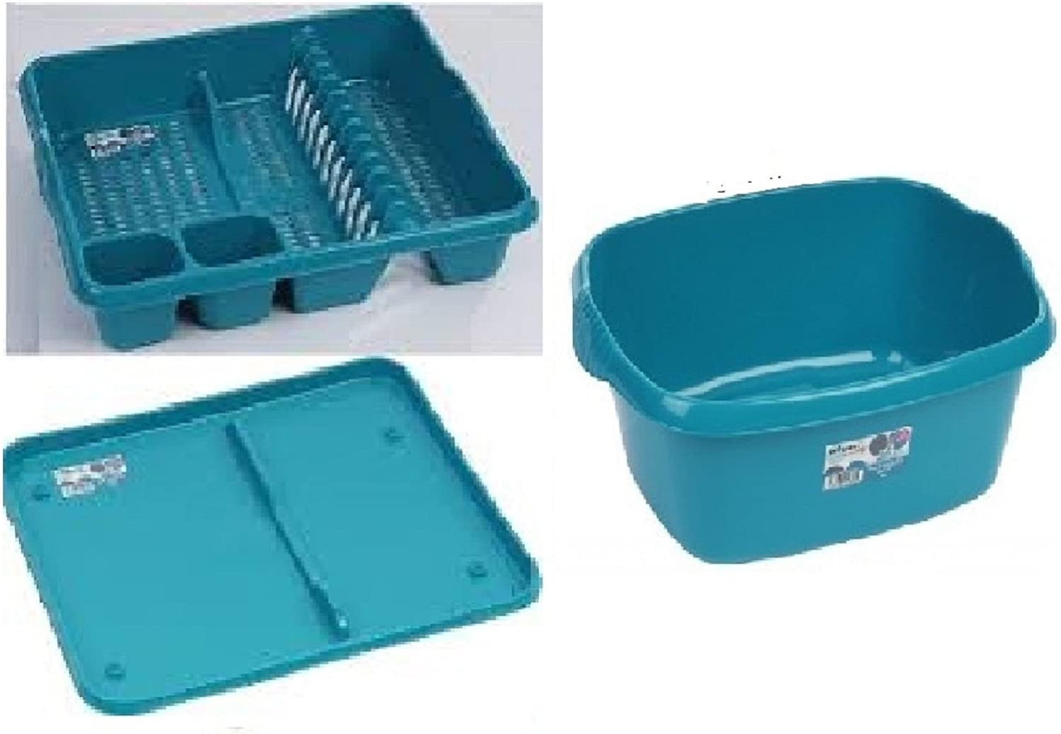 PLASTIC TEAL DISH DRAINER RACK WITH TRAY RECTANGULAR WASHING UP