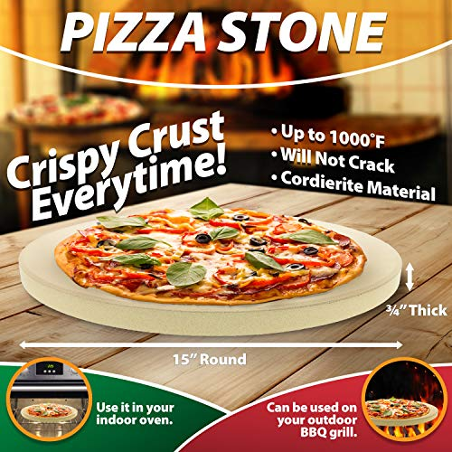 Pizza Stone For Cooking Baking Grilling 15 Inch 3 4
