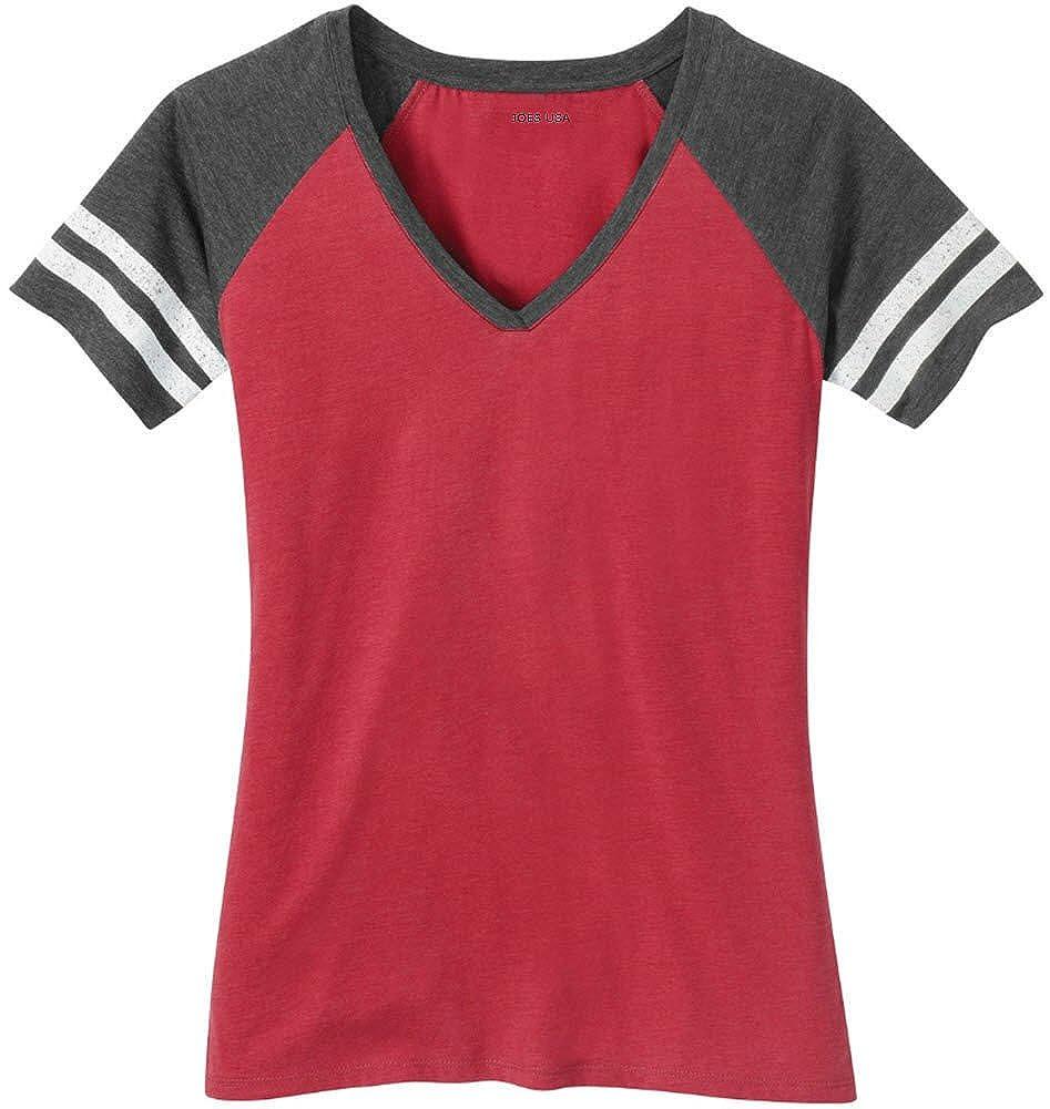 b54f1841c2a Joe s USA(tm) Ladies Distressed Retro V-Neck T-Shirt Printed with Joe s USA( tm) Logo Inside. Distressed printed stripes on the sleeves give this tee a  retro ...