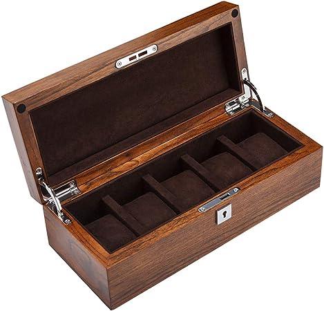 Elegante Cajas para Relojes de Madera con 5 Compartimentos Estuche para Relojes y Joyeros Joyas Soporte de Exhibición Organizador Accesorios para Hombre Mujer: Amazon.es: Hogar