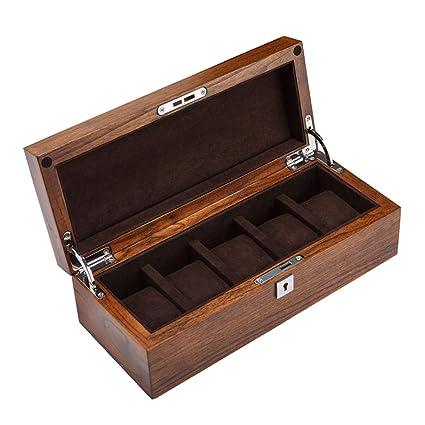 Elegante Cajas para Relojes de Madera con 5 Compartimentos Estuche para Hombre Mujer para Relojes y