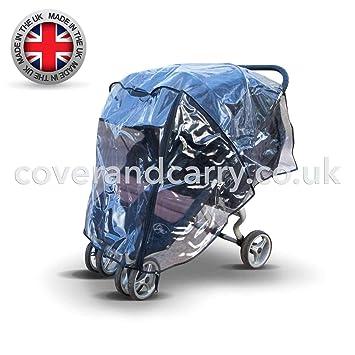 Regenschutz f/ür Britax B-Agile Doppel-Kinderwagen hergestellt in Gro/ßbritannien aus transparentem und superweichem PVC