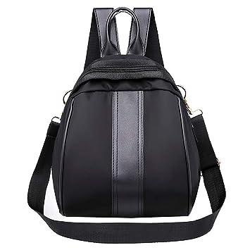 Qiusa Mochila para Mujer Suave Piel Doble Uso Personalidad Estudiante Simple Japón y Estilo Coreano Shell Oval Bag (Color : Negro): Amazon.es: Hogar
